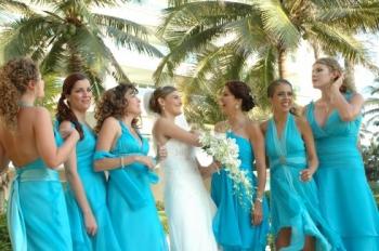 Vestidos para dama azul turquesa